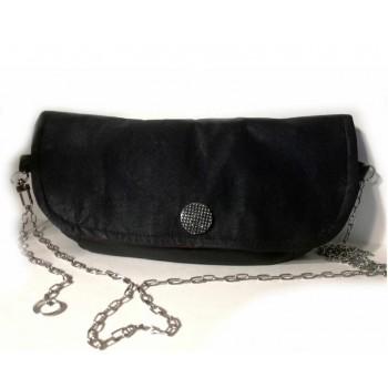 Чанта малка с дълга дръжка, кожа веган, черна.